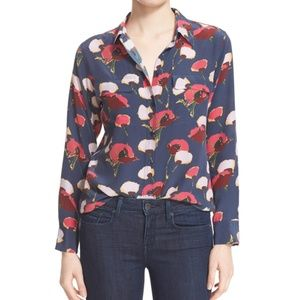 Equipment Slim Signature Floral Print Silk Blouse